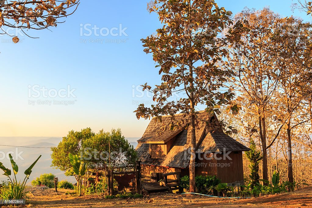 Lodging houses at Mae Chaem stock photo