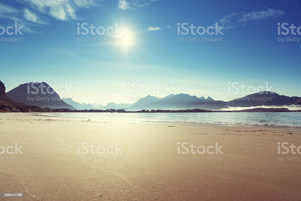 Lofoten beach in sunny summer day, Norway stock photo