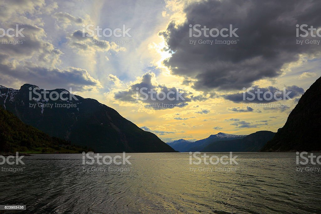 Lofoten dramatic Midnight sun panorama on Fjord, Norway, Scandinavia stock photo