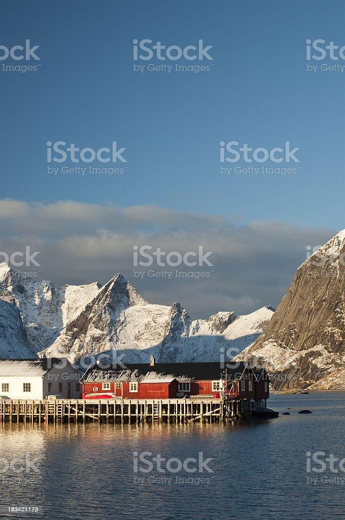 Lofoten Harbour vertical royalty-free stock photo