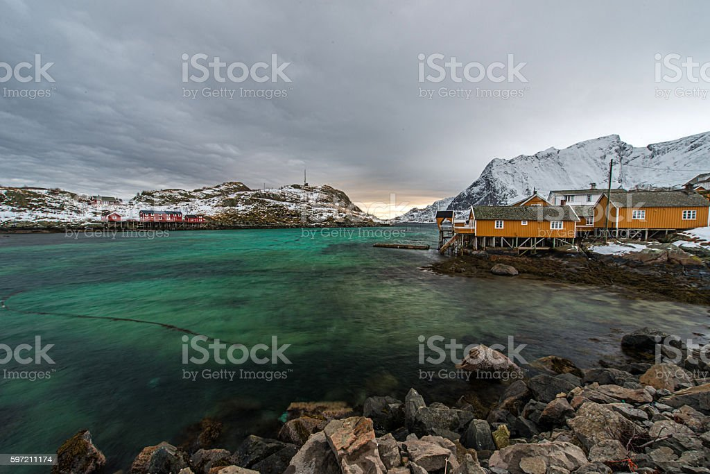 Lofoten islands in winter stock photo