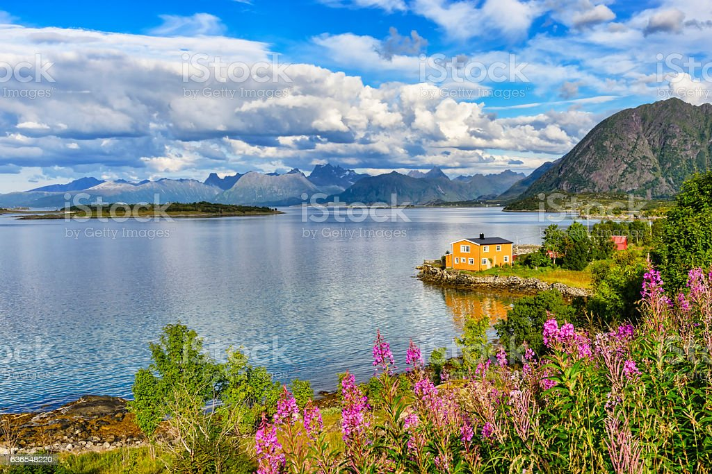 Lofoten islands landscape, Norway. stock photo