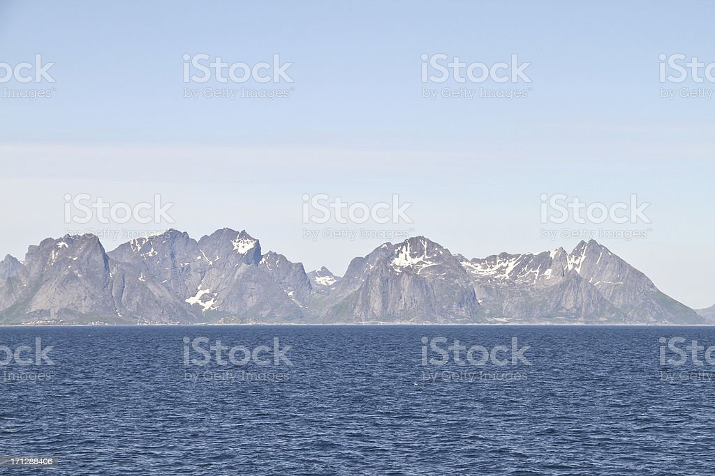 Lofoten Mountains in Norway royalty-free stock photo