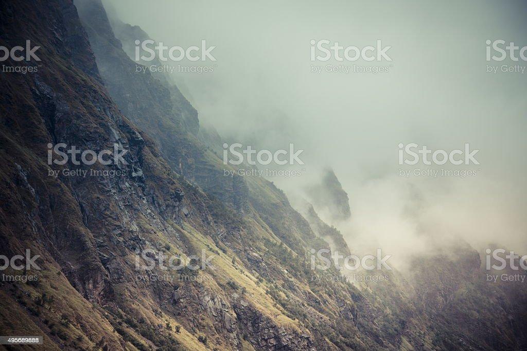 lofoten norway mountain with fog stock photo