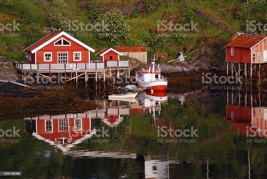 Lofoten, Norway: traditional house and boat stock photo
