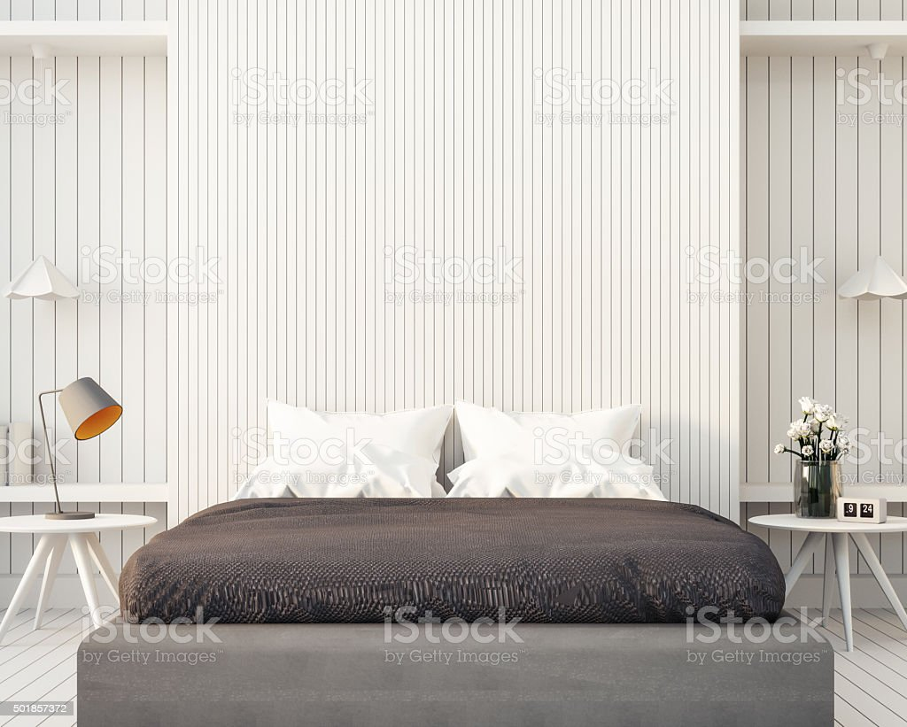 Loft and modern bedroom stock photo