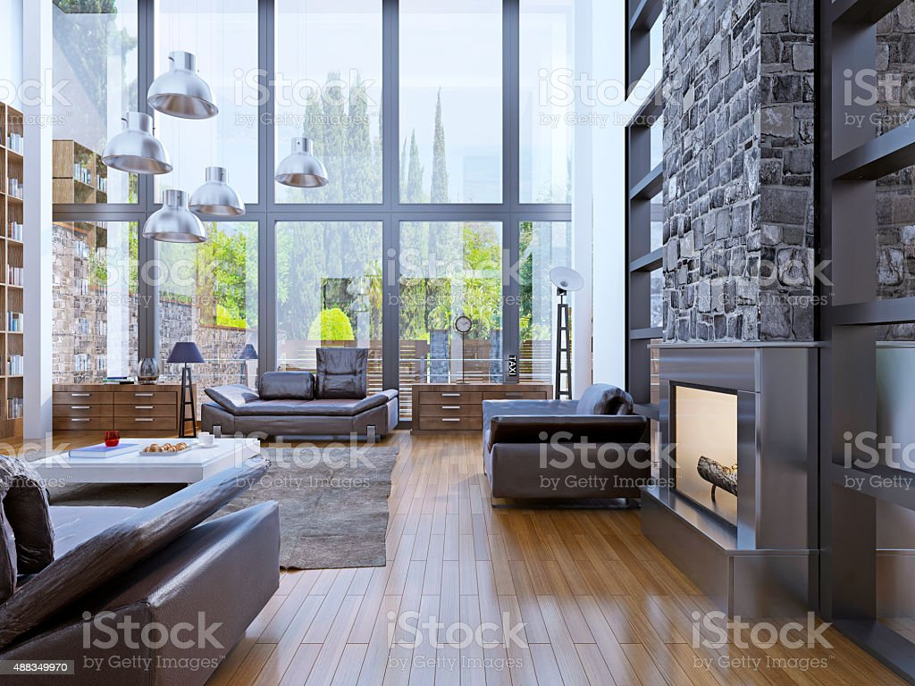 Loft apartment interior design with panoramic window interior stock photo