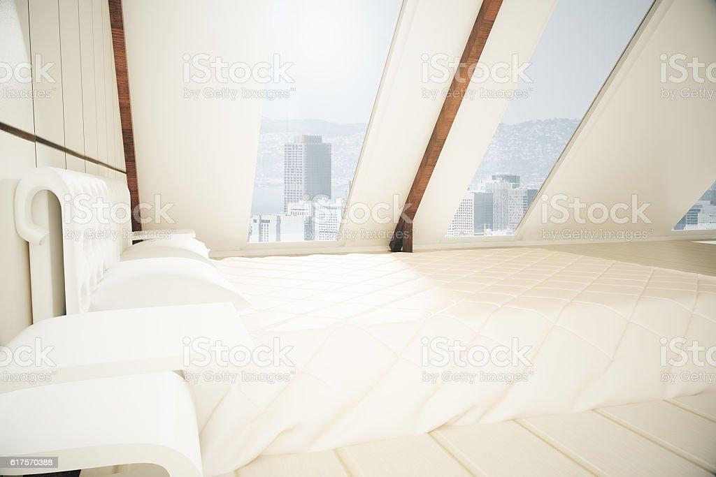 Loft bedroom side stock photo
