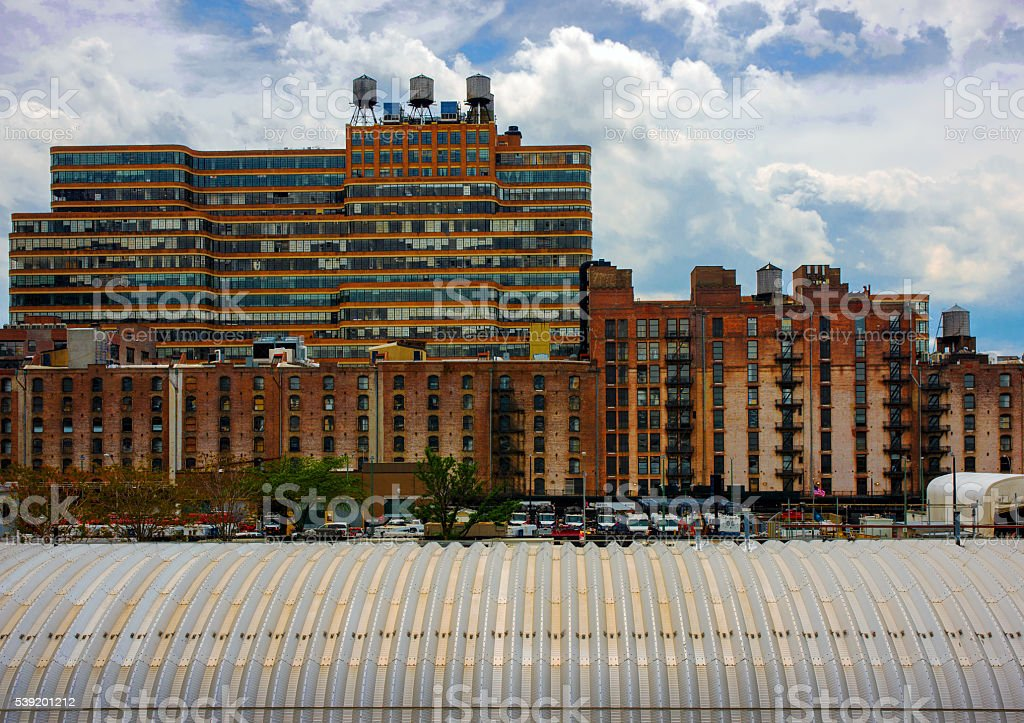 Loft Buildings with Horizontal and Vertical Windows at West Chelsea stock photo