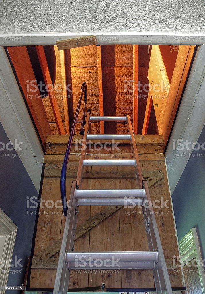 Loft Hatch And Ladder Seen From Below stock photo