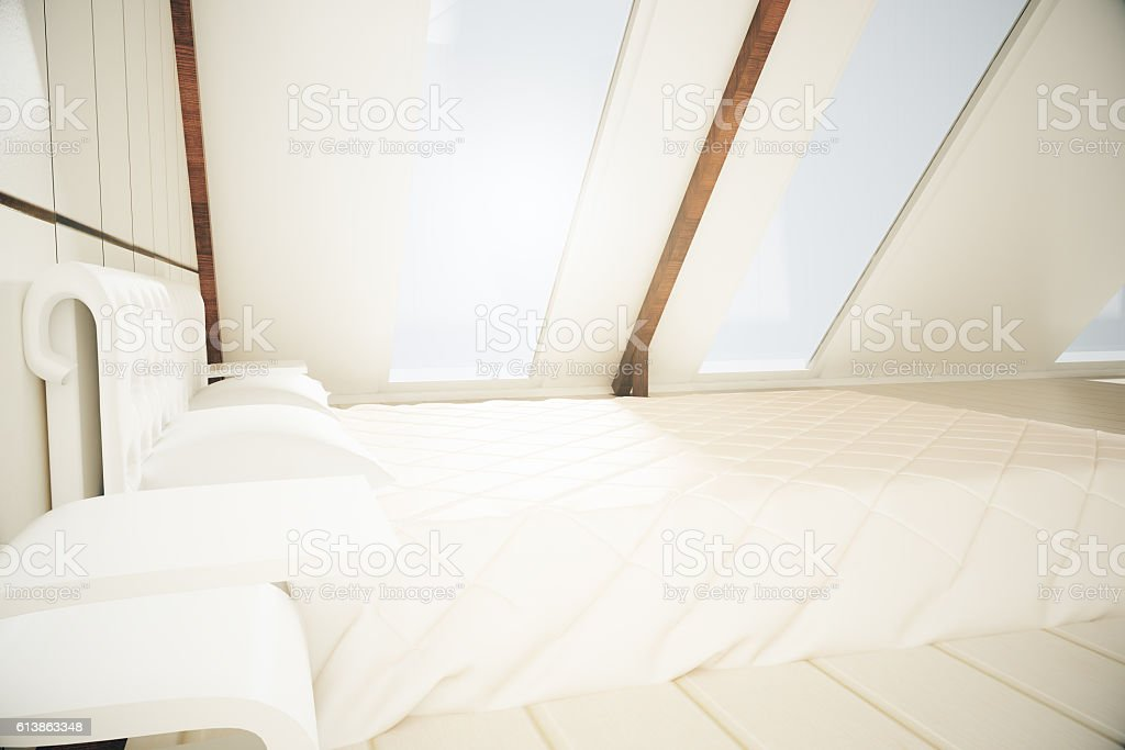 Loft interior with bed stock photo