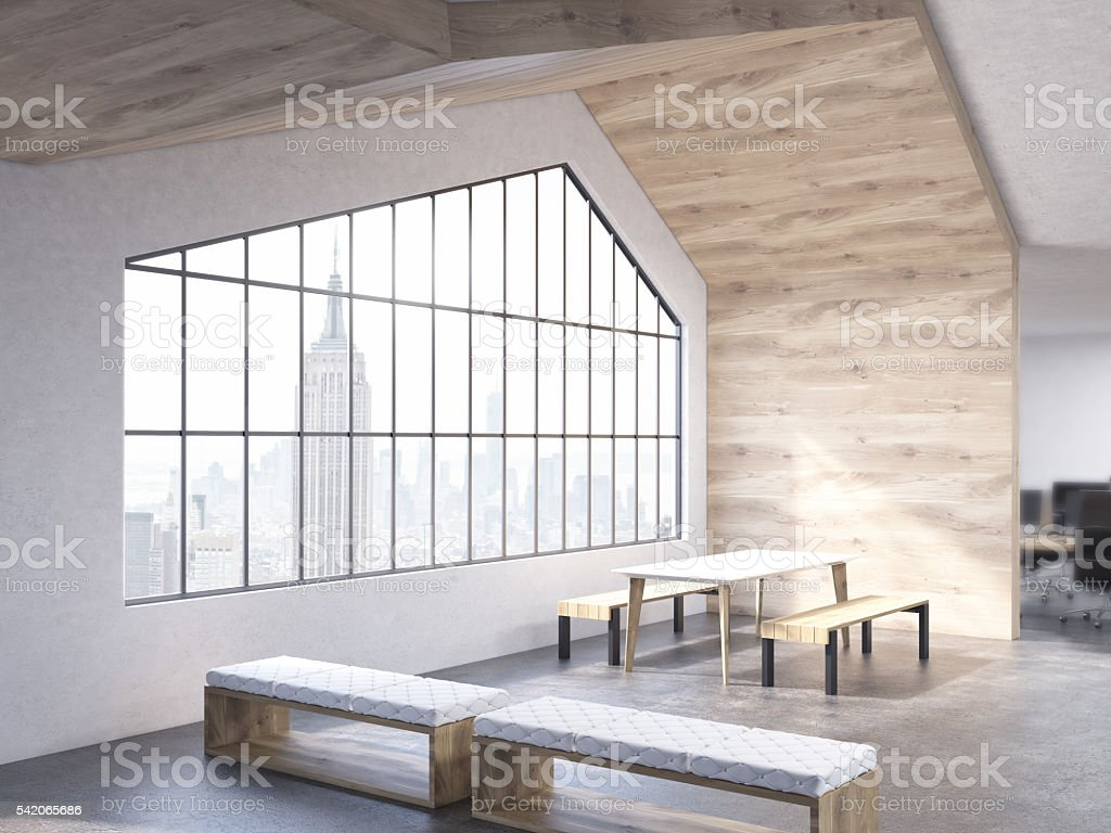 Loft interior with benches stock photo