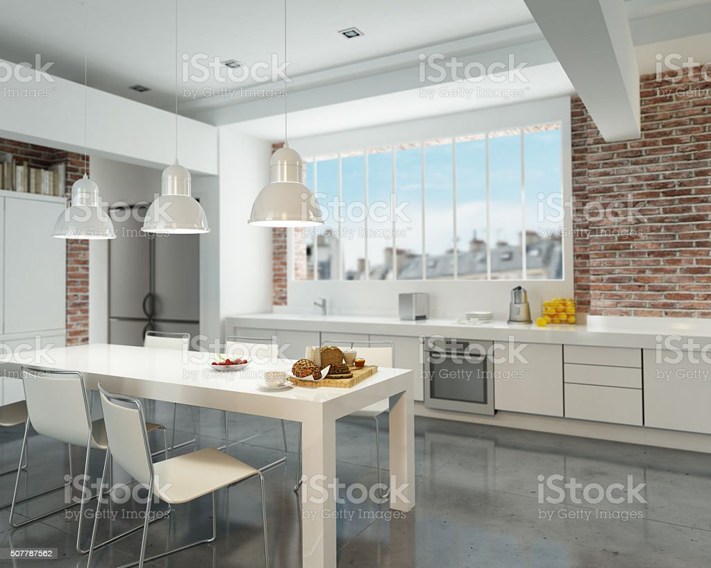 Loft Kitchen stock photo
