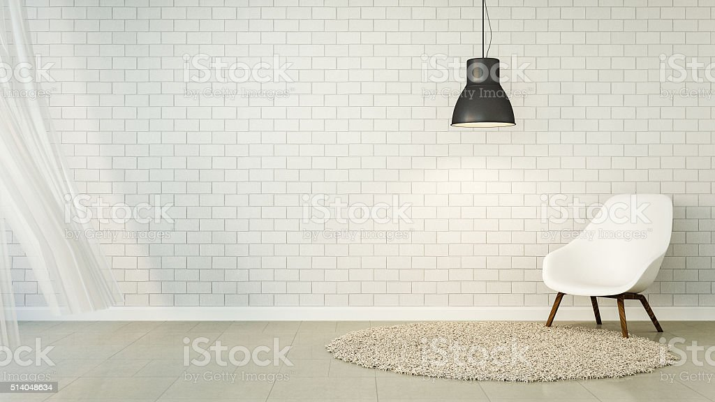 Loft Living and brick wall stock photo