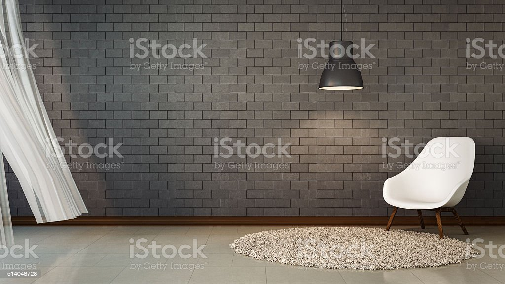 Loft Living and brick wall stock photo