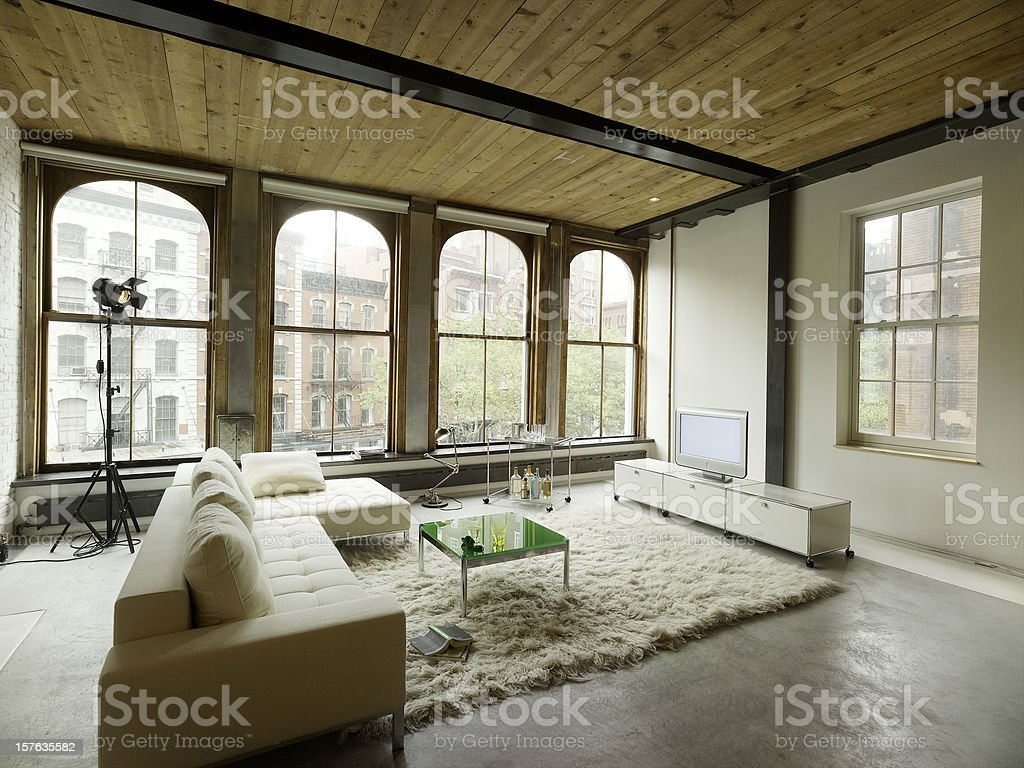 Loft living room stock photo