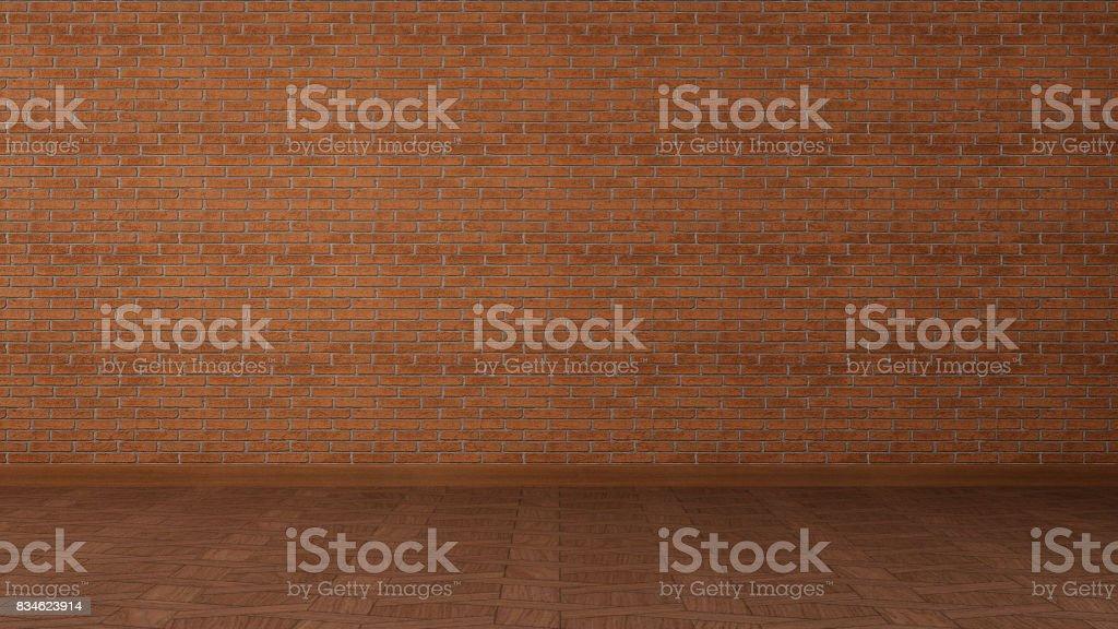 loft style interior brick walls 3d rendering stock photo