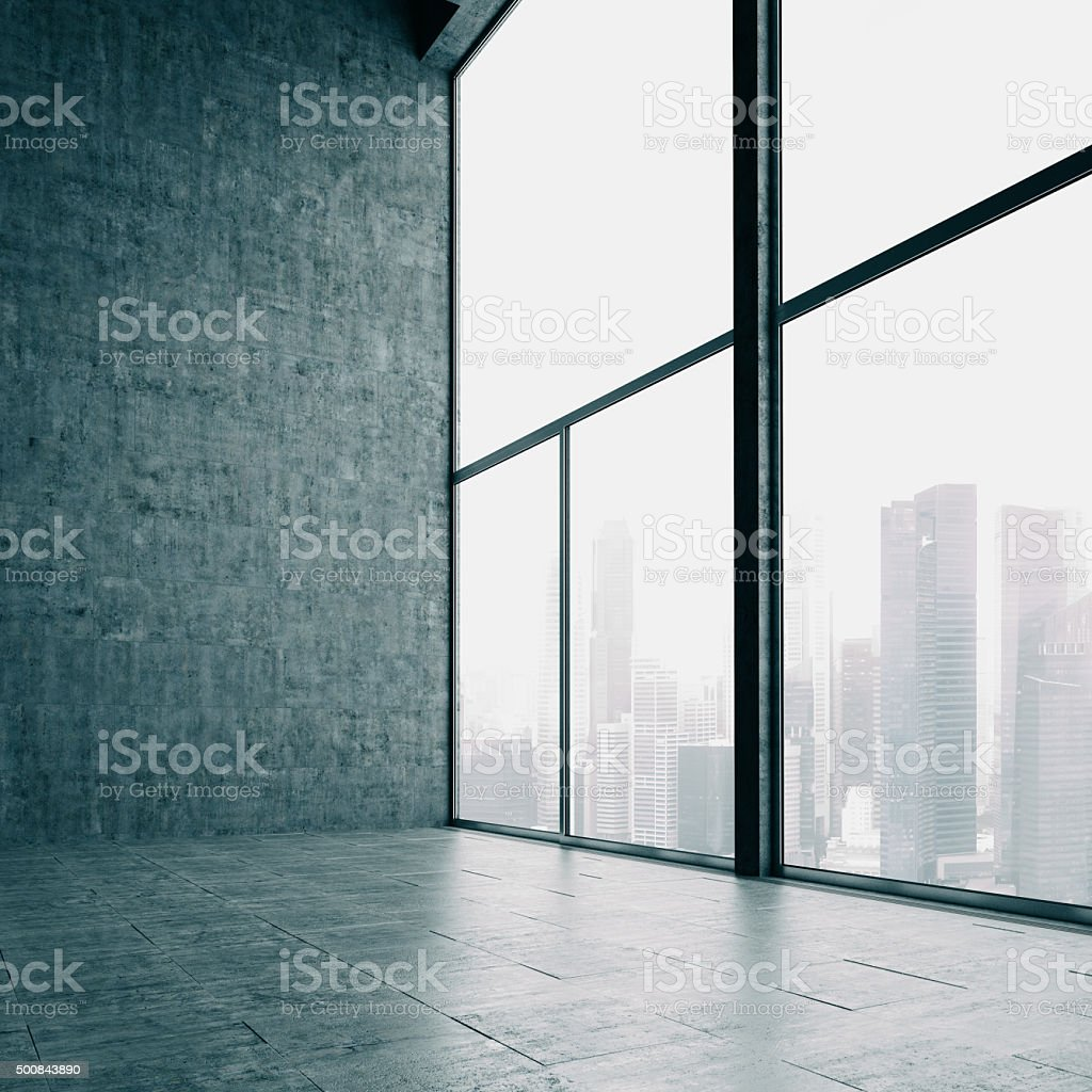 Loft windows and the city. 3d render stock photo
