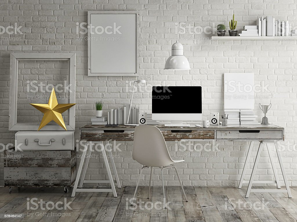 Loft workspace background stock photo