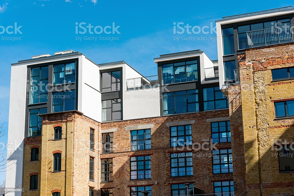 Lofts on top of an old building stock photo