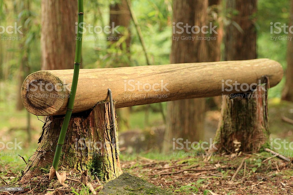 Log Bench in Trail course. royalty-free stock photo