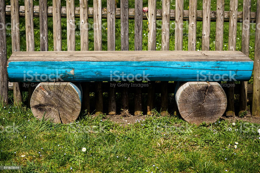 Log bench stock photo