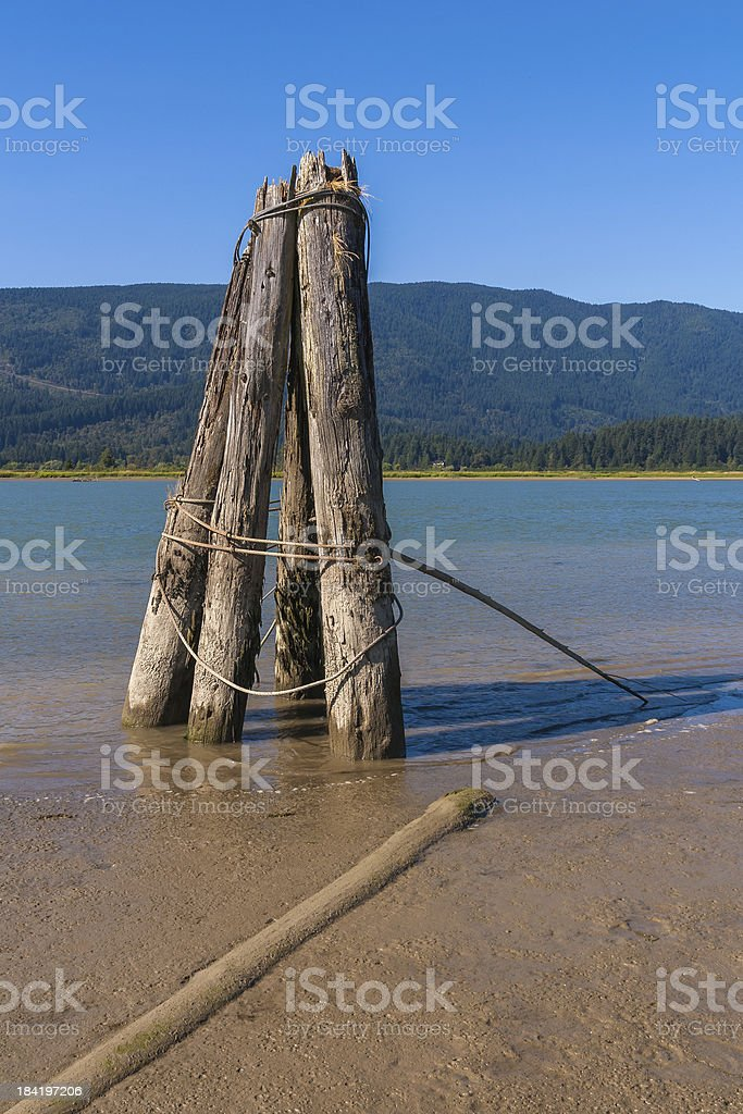 Log Boom Anchor at Pitt Meadows stock photo