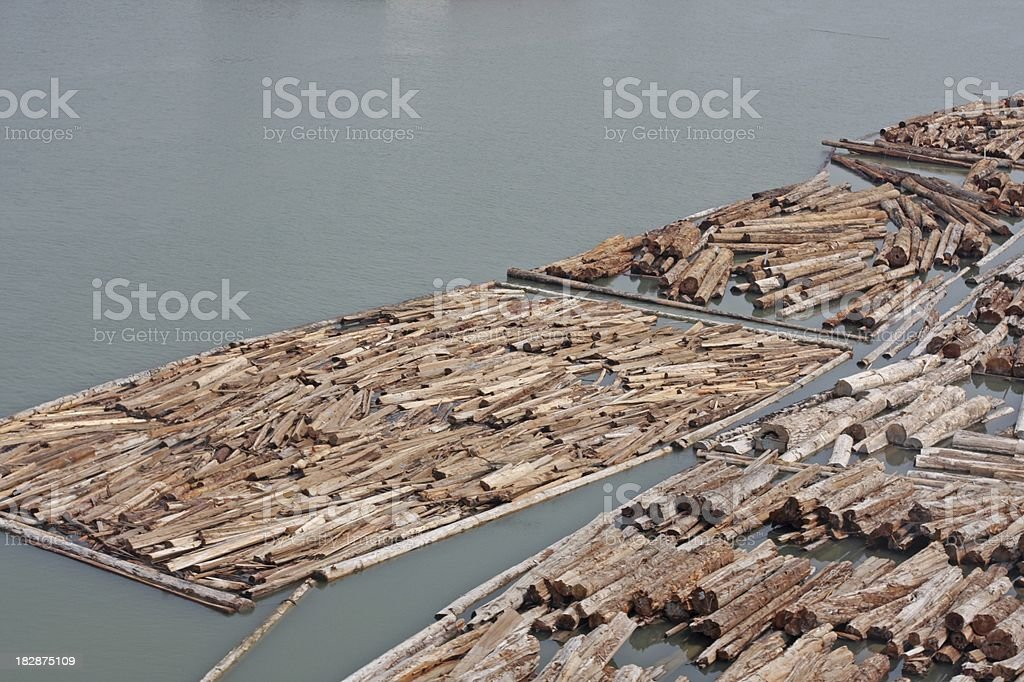 Log Booms on the Fraser River, Vancouver, British Columbia, Canada stock photo