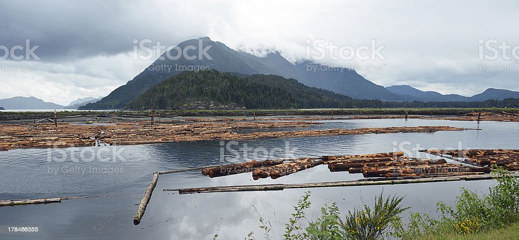 Log booms stock photo