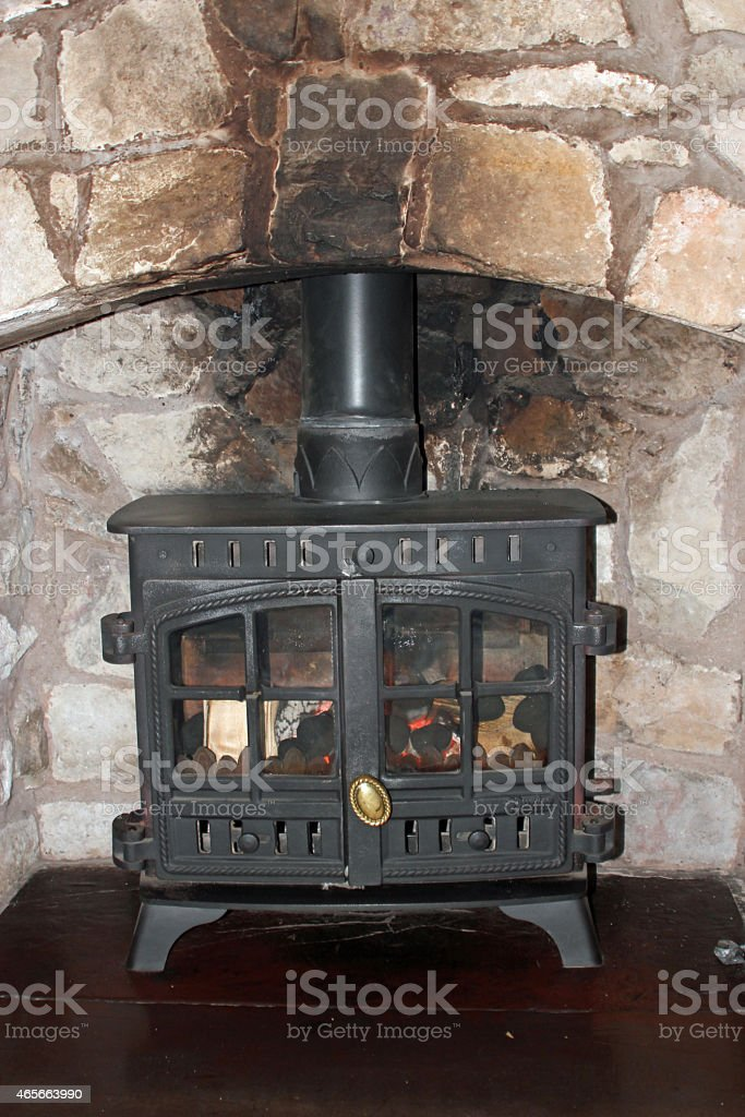 Log burner stock photo