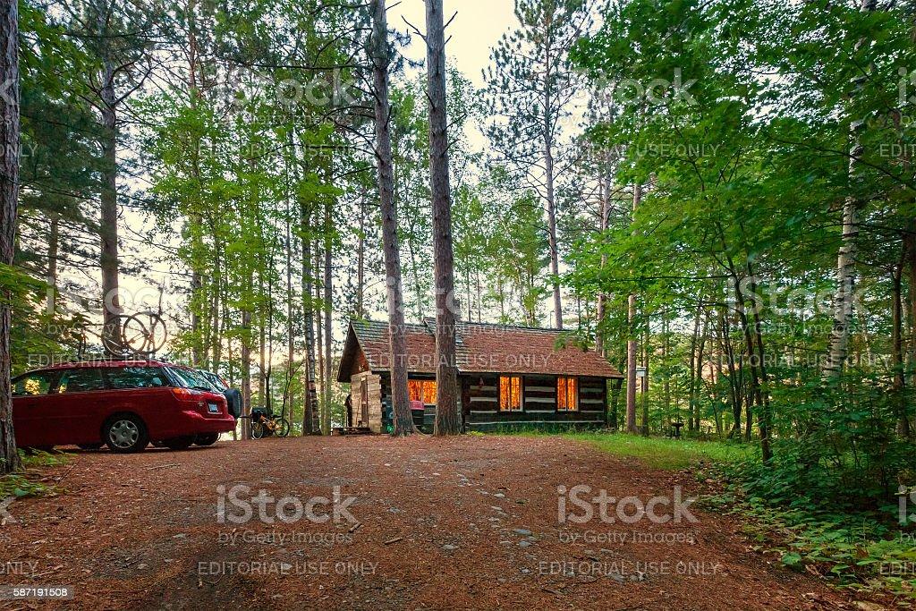Log Cabin at Bon Echo Provincial Park Ontario Canada stock photo