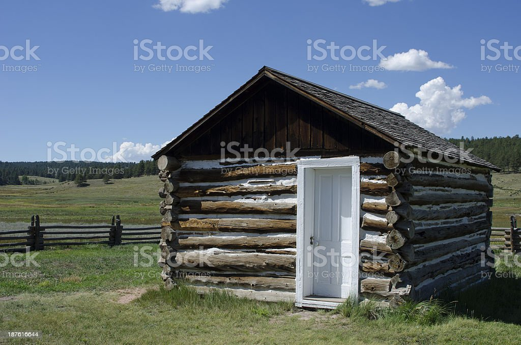 D4651 Log Cabin at Hornbek Ranch stock photo
