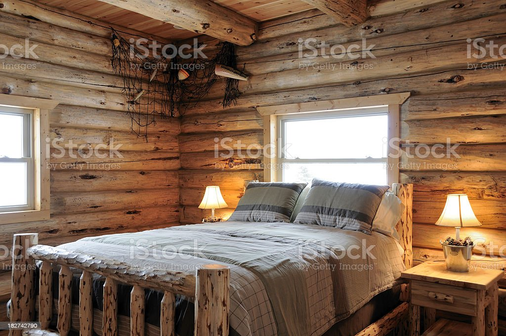 Log Cabin Bedroom royalty-free stock photo
