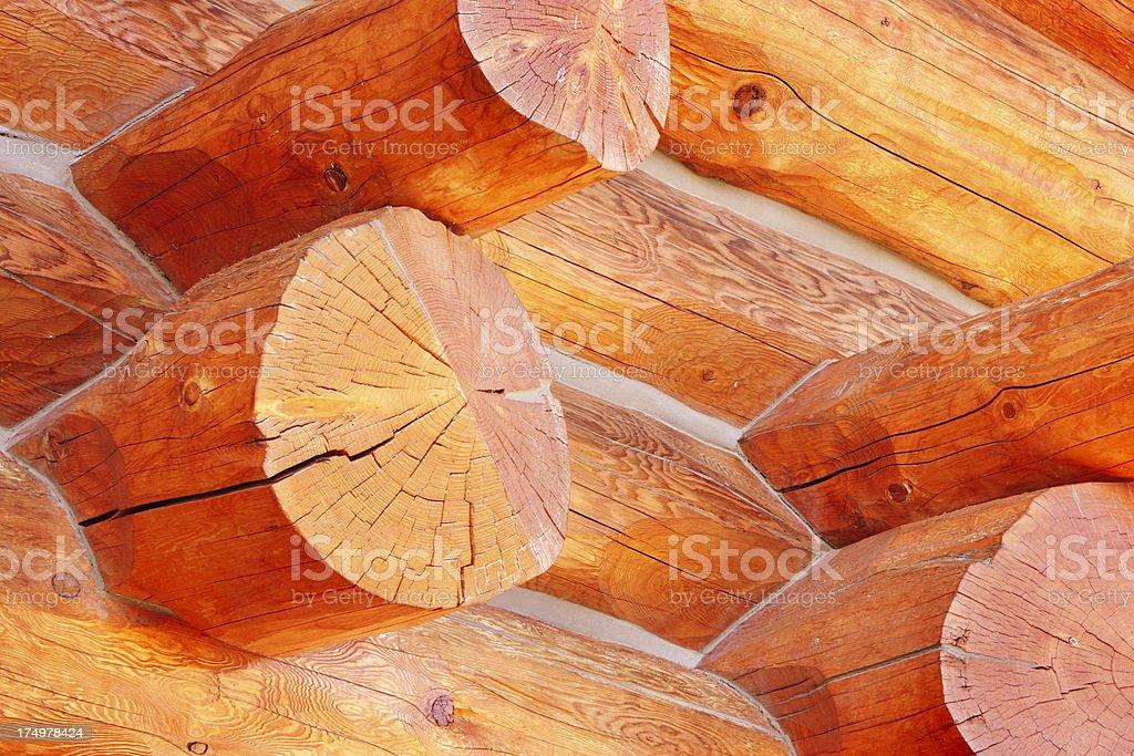 Log Cabin Chinking Construction Detail stock photo