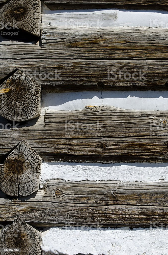 Log Cabin Chinking stock photo