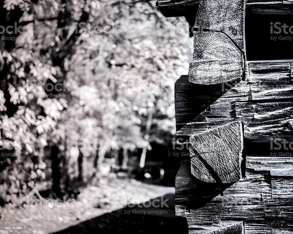 Log Cabin Corner stock photo