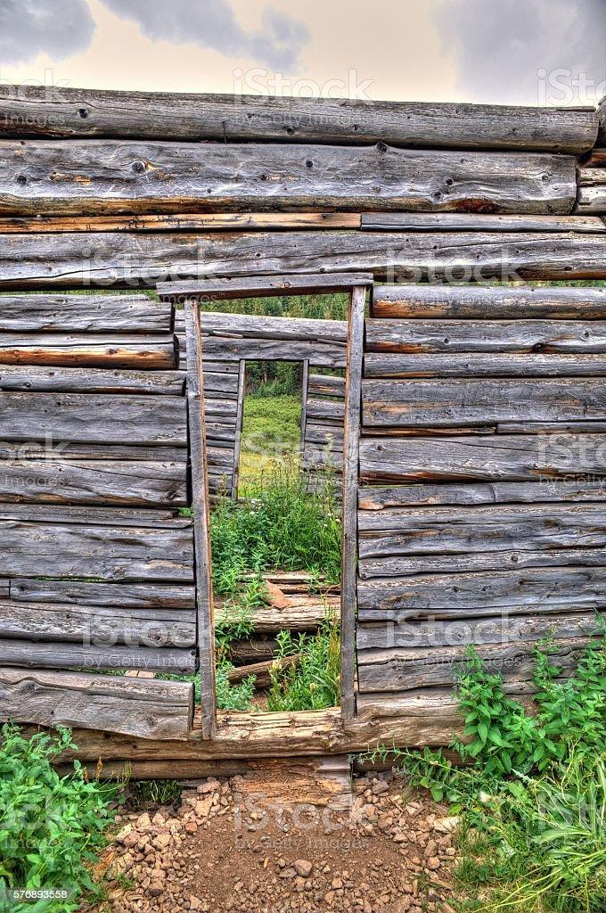 Log Cabin Door Independence Ghost Town stock photo