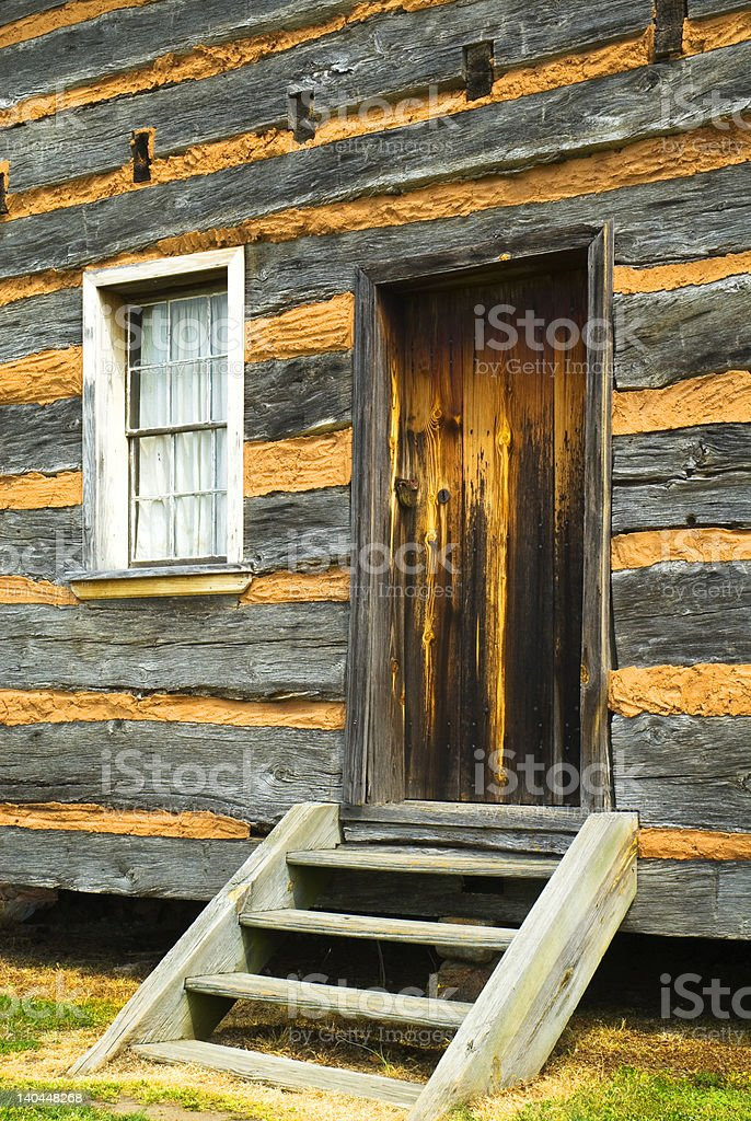 log cabin entryway stock photo