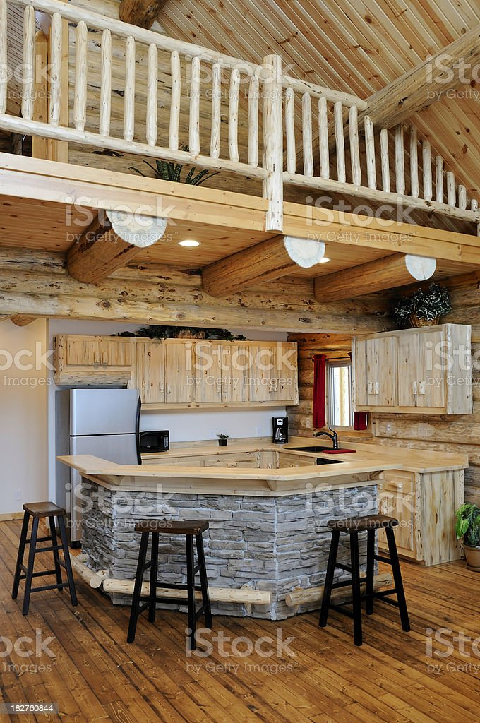 Log Cabin Home Kitchen royalty-free stock photo