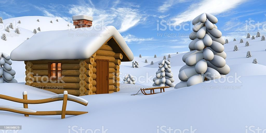 Log cabin in snowy countryside royalty-free stock photo