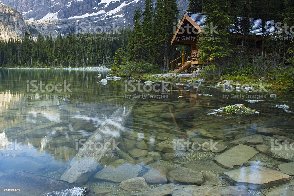 Log Cabin In The Forest On A Lake royalty-free stock photo