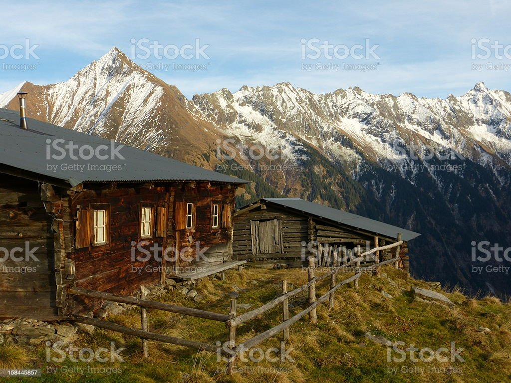 Log cabin in the mountains of Austria stock photo
