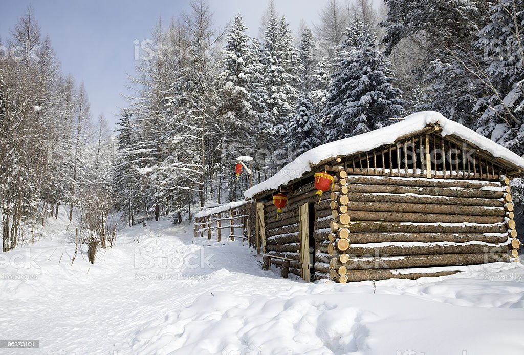 log cabin in winter royalty-free stock photo