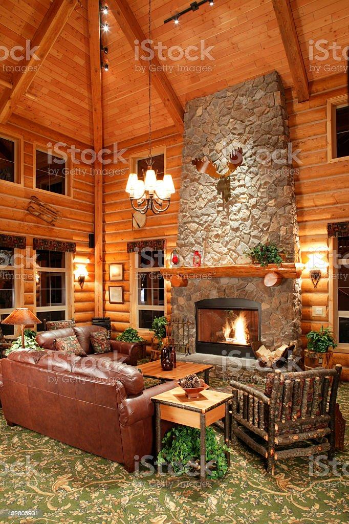log cabin interior design stock photo