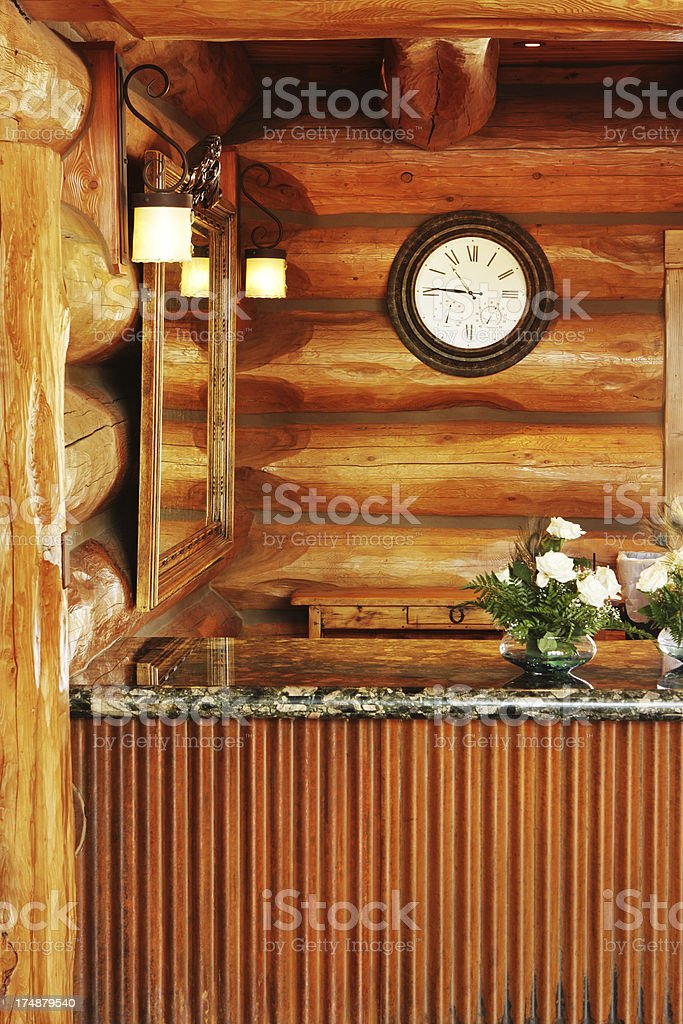 Log Cabin Resort Hotel Decor stock photo