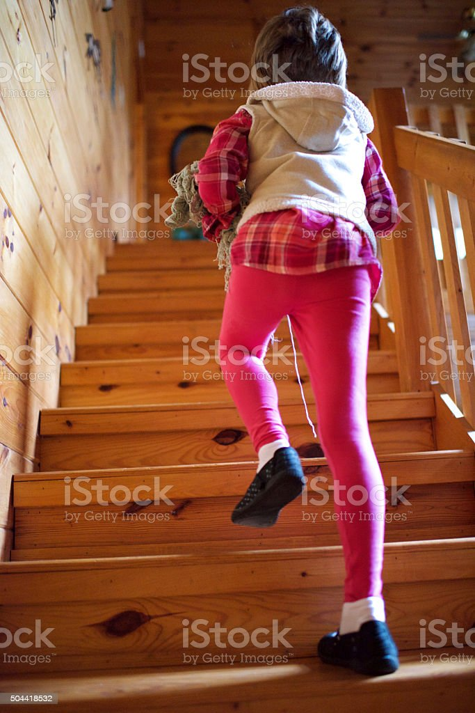 Log Cabin Stair Climb stock photo