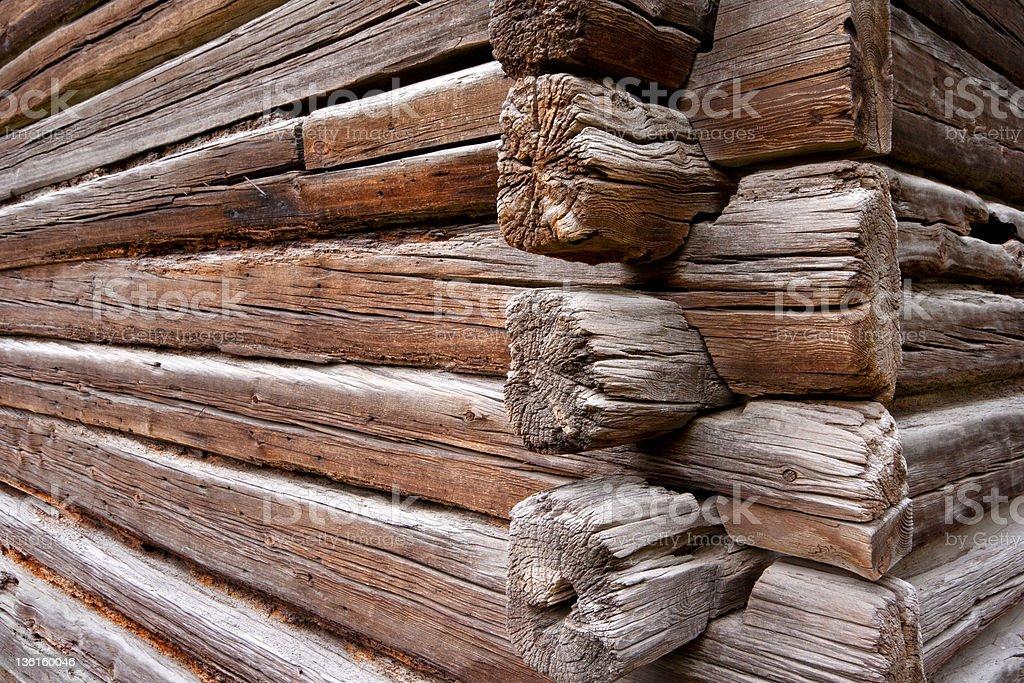 Log cabin wall corner royalty-free stock photo