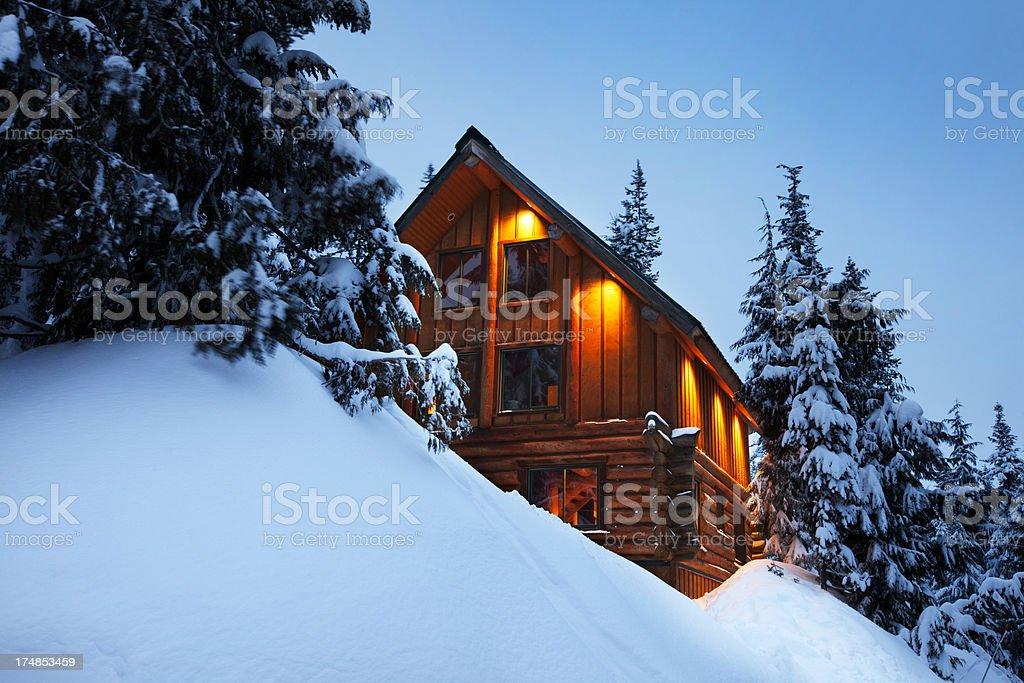 Log Cabin Winter stock photo