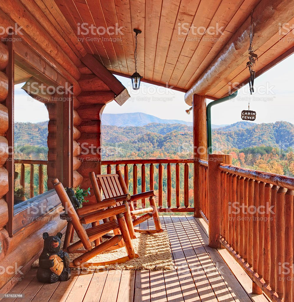 Log Cabin with a View of the Smoky Mountains royalty-free stock photo