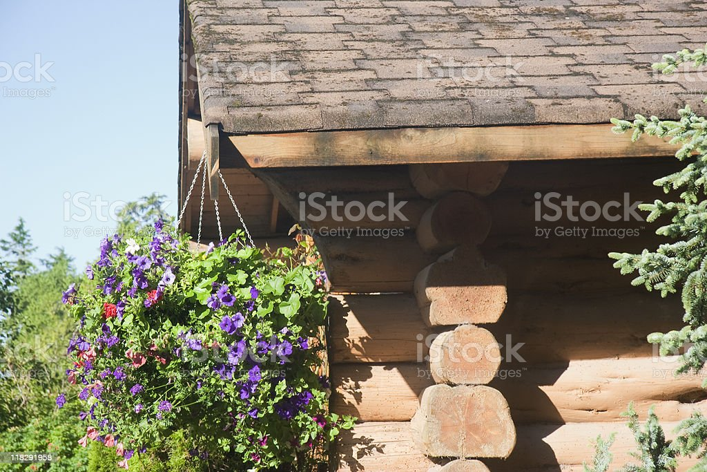 Log Cabin with Hanging Basket stock photo
